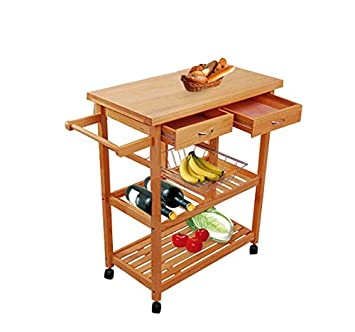 Amazon.com - Tenive Pine Wood Dining Trolley Rolling Kitchen ...