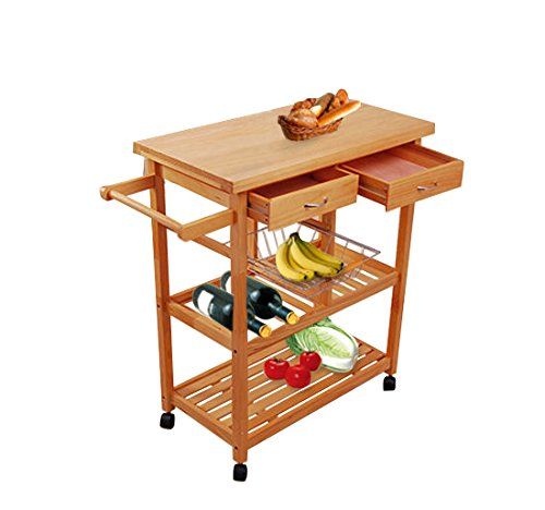 Tenive Pine Wood Dining Trolley Rolling Kitchen Trolley Cart Kitchen Utility Cart Kitchen Island with Win Rank/Basket/Drawer