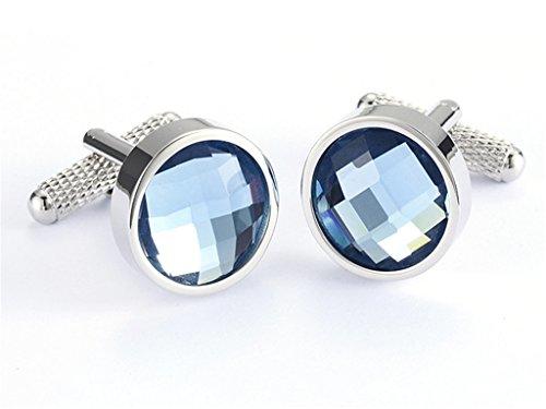 CASOTY Explosion Blue Round Circular Crystal Cufflinks Mens French Shirt Cuff links Gift Box Blue Round Cufflinks