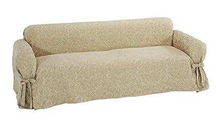 Charmant Classic Slipcovers Washed Damask Sofa Slipcover, Pongee
