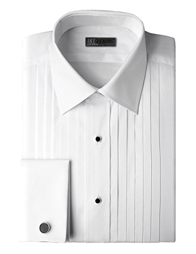 Ike Behar Traditional Fit 100% Woven Cotton Tuxedo Dress Shirt with French Cuffs -