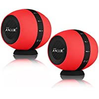 Dual Stereo Bluetooth Speakers, Vmank Portable DualCoreSound Mini Wireless Speaker, 66-Feet Bluetooth Range & Built-in Mic, Surround Sound with Microphone for iPhone Android IOS, Red