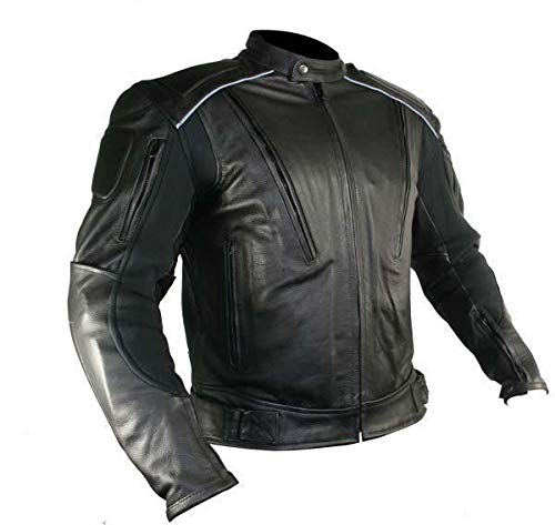 Xelement B9119 'Frenzy' Men's Black Armored Leather Motorcycle Jacket - Medium