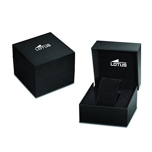 Lotus herr kvartsklocka med svart urtavla kronograf display och silver rostfritt stål armband 10125/2