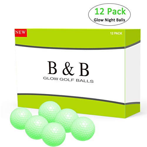 B&B Golf Balls, Night Glow Golf Balls Best Hitting Compression Core and Urethane Skin,Reusable Absorption of Light Nature (One Dozen), Pack of 12 Balls, White]()