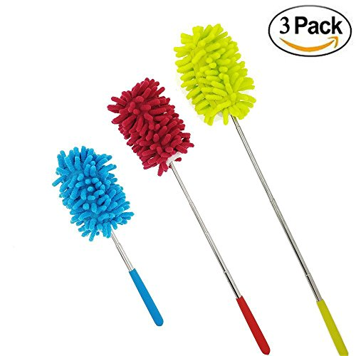 Price comparison product image M-jump Retractable Long-Reach Washable Dusting Brush , Microfiber Hand Duster with Telescoping Pole(set of 3)