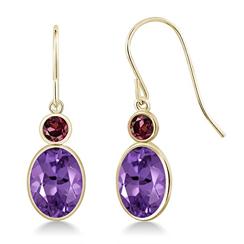 Gem Stone King 2.44 Ct Oval Purple Amethyst Red Rhodolite Garnet 14K Yellow Gold Earrings