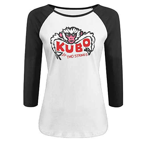 Women's Kubo And The Two Strings 100% Cotton 3/4 Sleeve Athletic Baseball Raglan Tee Shirts Black US Size XXL