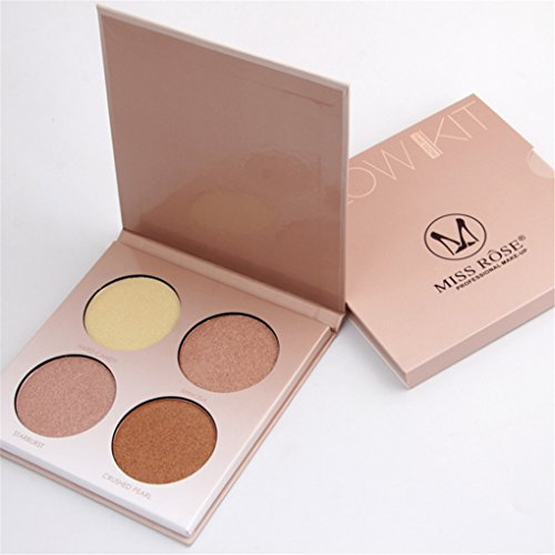 FantasyDay 4 Colors Highlighter Makeup Pallete Shimmer Bronzer and Highlighting Makeup Powder Face Eye Nose Contour Shadow Illuminating Powder #2