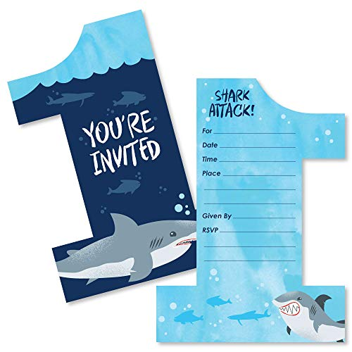 1st Birthday Shark Zone - Shaped Fill-in Invitations - Jawsome Shark First Birthday Party Invitation Cards with Envelopes - Set of -