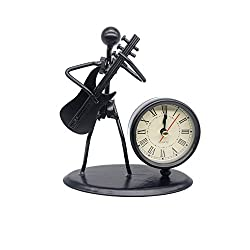 BFRed Antique Hand Made Crafts Retro Style Desk & Shelf Clock Musician Statue Metal Modern Home Office Decoration (amp)