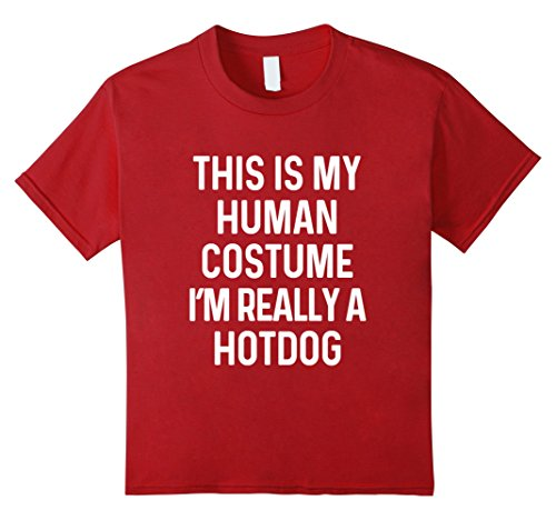 Child Hot Dog Funny Costumes (Kids Funny Hotdog Costume Shirt Halloween Men Women Kids 8 Cranberry)