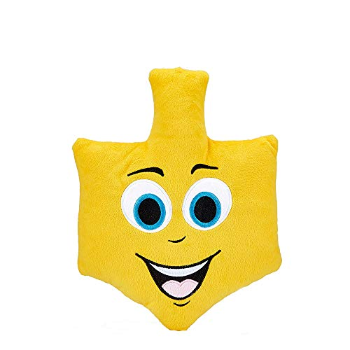 Quality Judaica Plush Hanukkah Dreidel Pillow, Emoji (Hanukkah Plush)