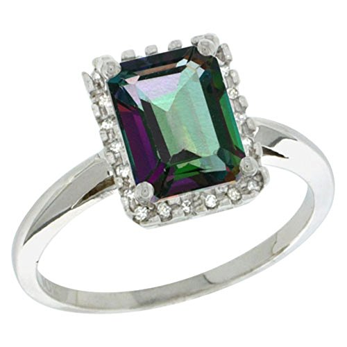 Sterling Silver Diamond Mystic Topaz Ring Emerald-cut 8x6mm, 1/2 inch wide, size - Ring Mystic Topaz Diamond