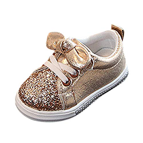 ❤️ Mealeaf ❤️ Children Baby Girls Boys Bling Sequins Bowknot Crystal Run Sport Sneakers Shoes(Gold,22) ()