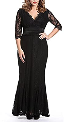 Anfee Women's Plus Size Lace Dress V-neck Floor Evening Party Dress