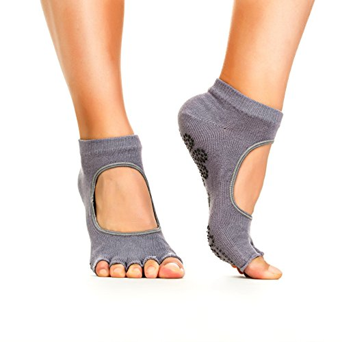 Yoga Socks - Non Slip, Non Skid, Slip Resistant Toeless Grip Sock for Women & Men Doing Yoga and Pilates - Grey Small