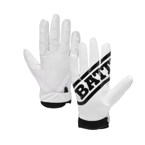 Battle Ultra-Stick Receiver Gloves, Adult Large - White/White