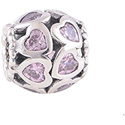 FJCharm Love All Around, Fancy Pink CZ Bead Fits By Pandora Charms Breacelet Valentine's Day Gifts Idea