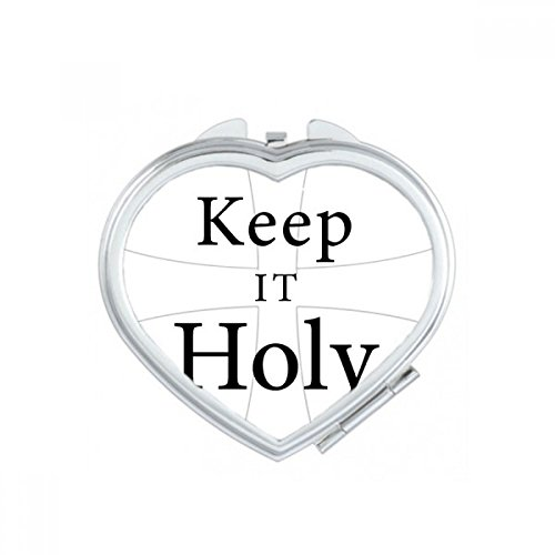 DIYthinker Keep It Holy Bible Quote Shabbath Heart Compact Makeup Pocket Mirror Portable Cute Small Hand Mirrors Gift by DIYthinker