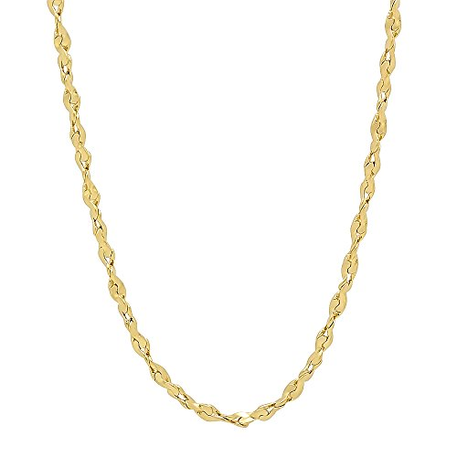 The Bling Factory 2.7mm 24K Gold Plated Twist Nugget Chain Necklace, 18