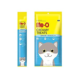 Me-O Creamy Treats with Chicken and Liver for Cats and Kittens – Pack of 5