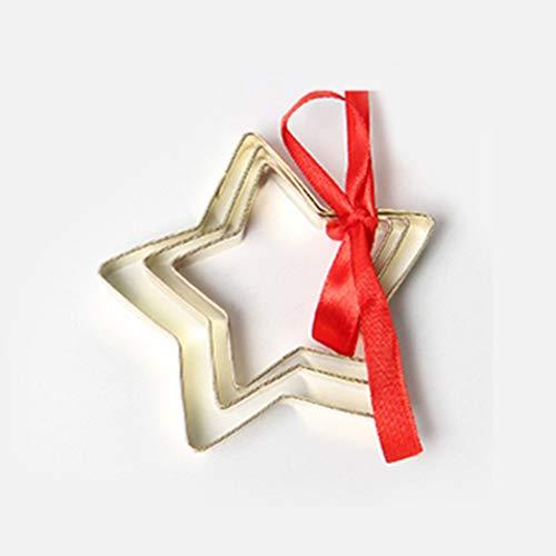 BESTONZON 3 unids Navidad Cortadores de Galletas Estrella Fondant Cake Molde Impresora Sugarcraft...