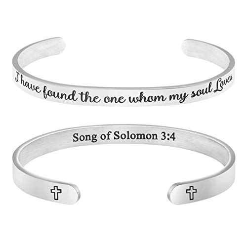 MEMGIFT Bible Verse Bracelet for Her Personalized Wedding Jewelry I Have Found The one whom My Soul Loves Song of Solomon 3:4