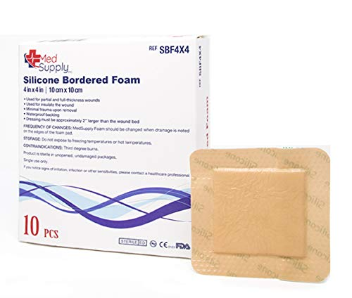 Medical Grade Premium MedSupply Silicone Bordered Foam Dressing. (4'' x 4'') Box of 10 by MedSupply