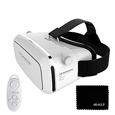 VR SHINECON Virtual Reality 3D Headset Video Movie Game Glasses with Bluetooth Remote Shutter - White