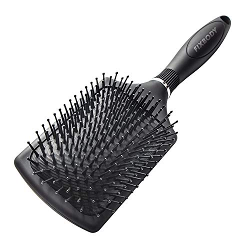 FIXBODY Paddle Brush with Large Cushion, Smoothing Detangling Brush for Long Thick Hair, Both Wet & Dry - Black Matte - Paddle Large
