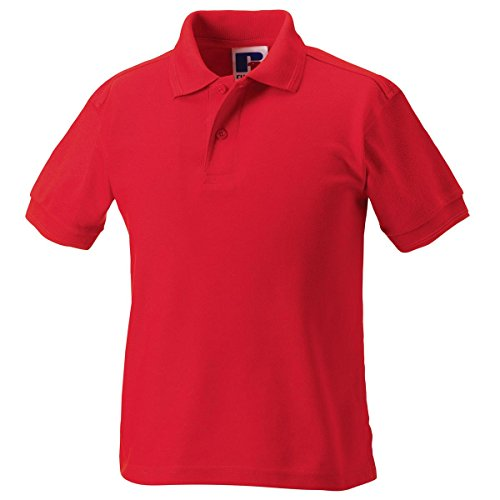 Jerzees Schoolgear Nuevos resistente de plano cuello de punto de Kid 's Poly/Algodón Polo Rojo
