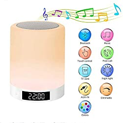 YUEBAOBEI Alarm Clock, LED Night Light Bluetooth Speaker, 3 Brightness Changing, Touch Sensor Table Lamp, Dimmable Warm Light & 7 Color Changing Portable Camping Lantern, Gift