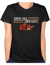 Women Daryl Hall and John Oates Tour Slim Hiking Black T-Shirt Short Sleeve