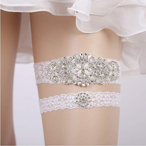 WINCSPACE Handmade Lace Crystal Applique Wedding Garter Belt Set Bridal Leg (colour4) by WINCSPACE