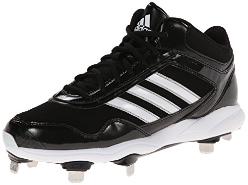 adidas Performance Men's Excelsior Pro Metal Mid Baseball Cleat, Core Black/Running White/Metallic Silver, 10.5 M US