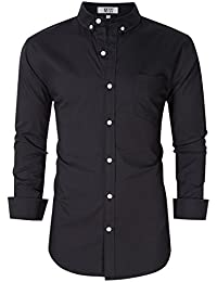 Men's Casual Slim Fit Button Down Dress Shirt Long Sleeve Solid Oxford Shirt