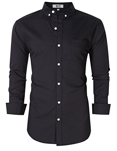 MrWonder Men's Casual Slim Fit Button Down Dress Shirt Long Sleeve Solid Oxford Shirt Black L