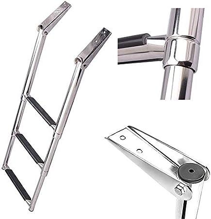 WSJ WSJEscalera de Barco telescópica de Acero Inoxidable de 3 peldaños - Escalera Plegable para Piscina/yate Marino, Capacidad de 550 LB: Amazon.es: Hogar