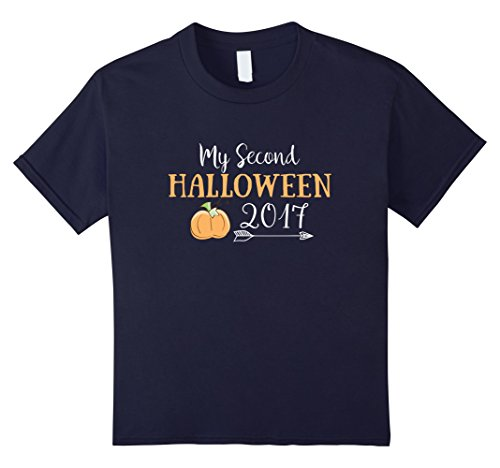 Kids 2nd Halloween Two Year Old Birthday T shirt 4 Navy