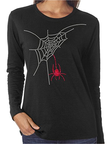Wild Woman Tees Spider Web Halloween Glitter and Rhinestone Long Sleeve Shirts, X-Large, Black]()