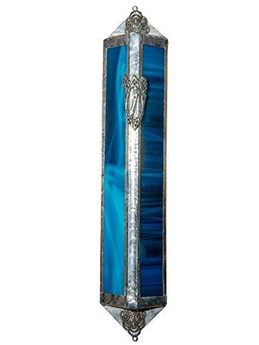 Triangular - sky blue stained glass Mezuzah case (9 cm - 3.5 ()