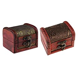 Freebily 2pcs Vintage Handmade Multipurpose Wooden Treasure Chest Trinket Box Keepsake Storage Case with Mini Metal Lock Burgundy One Size