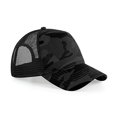 Beechfield Retro Camouflage Snapback Trucker Cap (One Size) (Midnight (Camo Trucker Hat Cap)