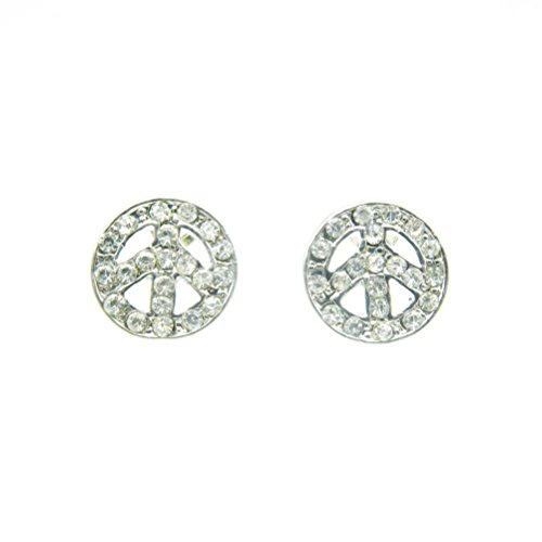Janestore 12Mm Bling Gold/Silver Juicy Rhinestone Peace Sign Round Earring