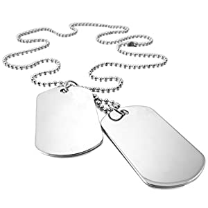 INBLUE Men,Women's 2 PCS Alloy Pendant Necklace Army Double Dog Tag 27 Inch Chain by INBLUE Jewelry