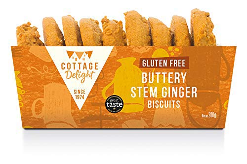 Cottage Delight Gluten Free All Butter Stem Ginger & Oat Biscuits - Small Batch Hand Baked Crumbly Texture Luxurious Ginger Flavour Artisan Recipe Suitable for Vegetarians Gluten-Free - 200g Box