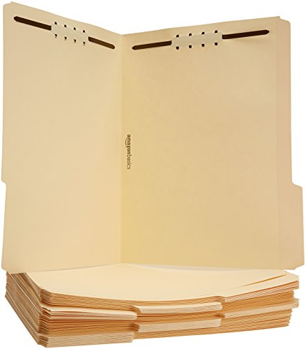 AmazonBasics Manila File Folders with Fasteners - Letter Size, 50-Pack - AMZ200