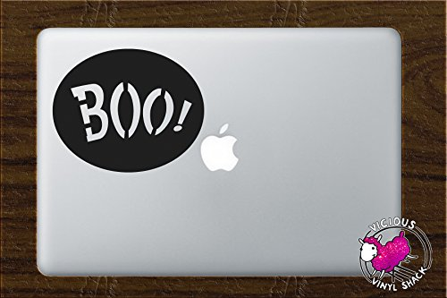 (Boo Sign Spooky Halloween Decoration (BLACK) Vinyl MacBook Laptop Vinyl Decal Sticker Home Decor Stickers Car Jack O Lantern Pumpkin Costume Trick or Treat Haunted House Removable Witch Black Cat)