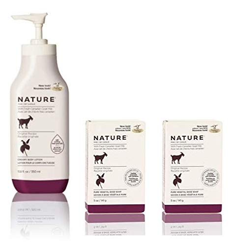 Goat Milk Lotion Base - Canus Nature Moisturizing Body Lotion Original Formula and Nature Pure Vegetal Oil Base Soap Original Formula (Pack of 2) Bundle with Goat Milk and Soybean Oil, 11.8 oz. and 5 oz.
